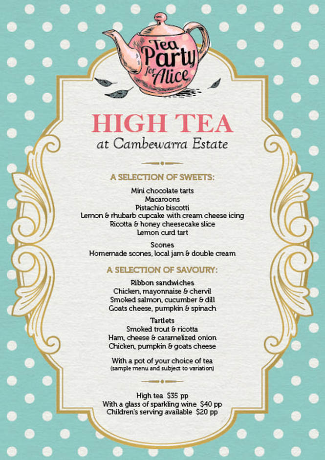 afternoon tea menu template - cambewarra estate restaurant cambewarra estate